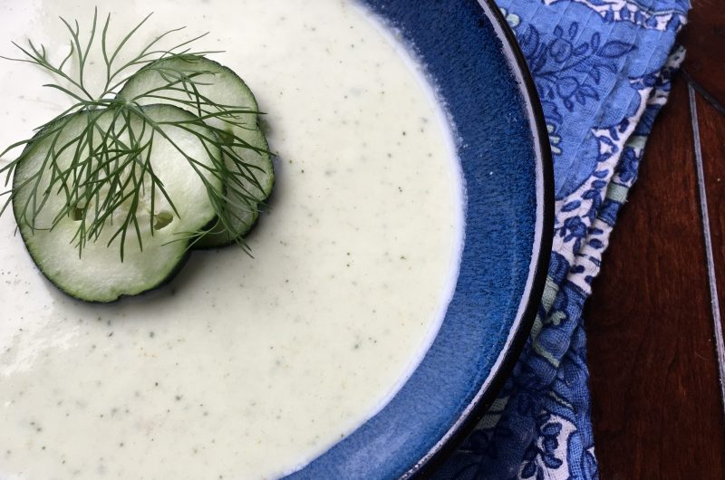Chilled Cucumber Avocado Soup with Fresh Dill