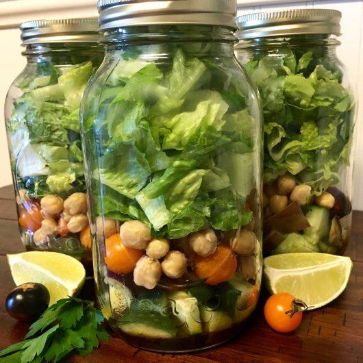 Garden Veggie Mason Jar Salad with Homemade Dressing